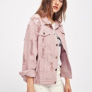 Rips details boyfriend denim jacket